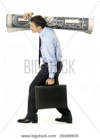 Businessman taking money and suitcase on white background.