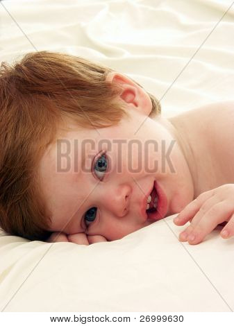 Adorable baby isolated on white background. baby boy with dummy on white background.