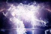 stock photo of lightning bolt  - Dark ominous clouds - JPG