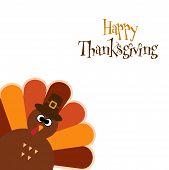 Happy Thanksgiving Text Cartoon Turkey On White Background Thanksgiving Poster poster