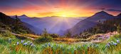 stock photo of landscapes beautiful  - Majestic sunset in the mountains landscape - JPG