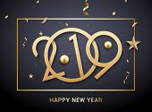Luxury Christmas Golden 2019 Typography. New Year Background Decoration Holiday Greeting Card 2019. poster