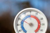 Outdoor thermometer  with celsius scale showing severe freezing temperature cold winter weather conc poster