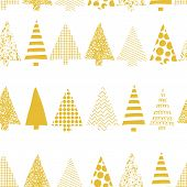 Abstract Christmas Trees In A Row Vector Seamless Pattern. Geometric Christmas Tree Silhouettes Gold poster