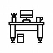 Work Desk Icon Isolated On White Background. Work Desk Icon In Trendy Design Style. Work Desk Vector poster
