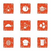 Refreshment Icons Set. Grunge Set Of 9 Refreshment Icons For Web Isolated On White Background poster