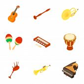Musical Instrument Icons Set. Isometric Set Of 9 Musical Instrument Icons For Web Isolated On White  poster