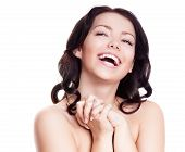 image of nude women  - portrait of a happy laughing woman isolated against white background - JPG