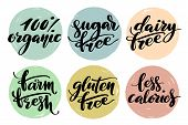 Healthy Food Label Set. Product Labels Or Stickers. Free From Gluten, Dairy And Sugar Food Label Set poster