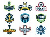 Sport Logos. Emblem Of College Team Cup Competitions Athlete Recreation Labels And Vector Badges Iso poster