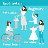 Eco Lifestyle. Save Water And Energy. Evironment Care, Ecology Protection. Second Hand, Charity And  poster