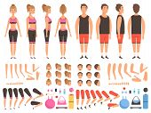 Sport People Animation. Fitness Male And Female Workout Mascots Body Parts Vector Creation Kit. Illu poster