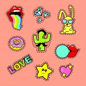Fashion Patch Stickers Badges With Lips, Rainbow, Glasses, Diamond, Speech Bubbles, Love, Rabbit, Ca poster