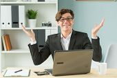 Technologies, Emotions And Business People Concept - Handsome Man Spreading His Hands While He Is Wo poster