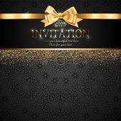 Gorgeous And Shiny Invitation Card Or Banner With Gold Ribbon Bow And Sparkling Golden Glitter On Bl poster
