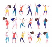 Dancing People. Cartoon Stylish Men And Women Dance On Party Dancing Club. Clubbing People Vector Ch poster