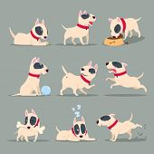 Dog In Day Activity. Funny Cartoon Puppy Daily Routine. Cute Dog Pet Animal Vector Character Set. Ha poster