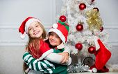 Merry Christmas. Family Holiday Tradition. Children Cheerful Celebrate Christmas. Kids Christmas Cos poster