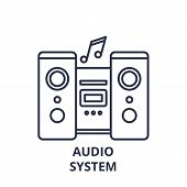 Audio System Line Icon Concept. Audio System Vector Linear Illustration, Symbol, Sign poster
