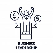 Business Leadership Line Icon Concept. Business Leadership Vector Linear Illustration, Symbol, Sign poster