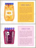 Canned Plums And Oranges In Glass Jar With Scrap Label. Home Cooking Preserved Fruits, Summer Conser poster