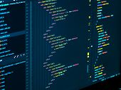 Coding Html And Css In Ide, Macro. Software Development. Software Source Code poster