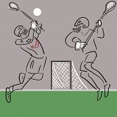 Two Lacrosse Players In Action Vector Background poster