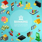 Isometric Banking Elements Concept With Building Mobile Payment Gold Bars Coins Money Safe Deposit A poster