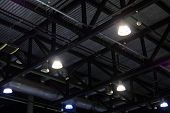 Lights And Ventilation System In Ceiling Of The Dark Office Industrial Building, Exhibition Hall Cei poster