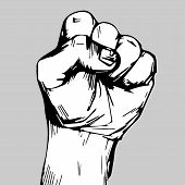 Freehand Drawing. Clenched Fist Held High In Protest. Clenched Fist Held In Protest Vector Illustrat poster