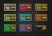 Black Friday Discounts Template. Set Of Coupons With Different Percentages -10, 20, 30, 40, 50, 60,  poster