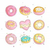 Cute Funny Girl Teenager Colored Icon Set Donuts, Fashion Cute Teen And Princess Icons. Magic Fun Cu poster