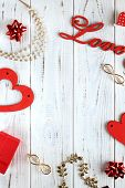 Flatlay For A Declaration Of Love. White Boards With Red Hearts, Text Love, Gifts And Treasure. poster
