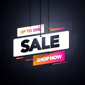 Vector Illustration Modern Sale Label Tag Banner Template Design, Big Sale Special Offer. For Black  poster