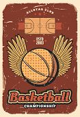 Basketball Retro Poster Of Ball With Winner Wings On Sport Court. Vector Vintage Design Of Basketbal poster