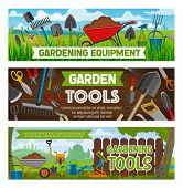 Gardening Equipment And Planting Tools. Vector Farm Garden Spade And Rake, Watering Can And Sole In  poster