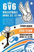 Volleyball Sport Game Vector Poster. Beach Volley Tournament Registration Leaflet Or Flyer, Design O poster