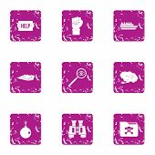 Distress Signal Icons Set. Grunge Set Of 9 Distress Signal Icons For Web Isolated On White Backgroun poster