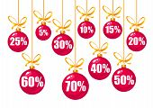 Set Of Discount Tags 10, 15, 20, 25, 30, 40, 50, 60, 70 Percent Off In The Shape Of Red Christmas Ba poster