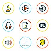 Audio Icons Colored Line Set With Headphone, Music Level, Equalizer And Other List Elements. Isolate poster