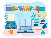 The Working Space Of The Writer, Literary Creative Work. Vector Illustration For Web Design, Bloggin poster