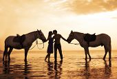 stock photo of horse-riders  - The image of a couple in love at sunset in the sea - JPG