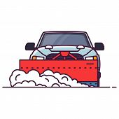 Front View Of Suv Car With Attached Snowplower. Line Style Vector Illustration. Off Road Vehicle In  poster