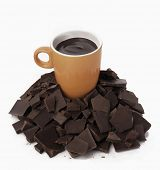 foto of hot-chocolate  - Cup on pieces of chocolate - JPG