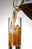 pic of iced-tea  - Pouring fresh cold tea on white background - JPG