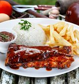 roast ribs with barbecue sauce poster
