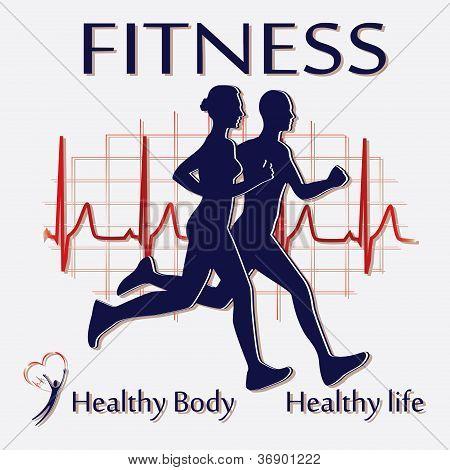 Fitness couple icon vector