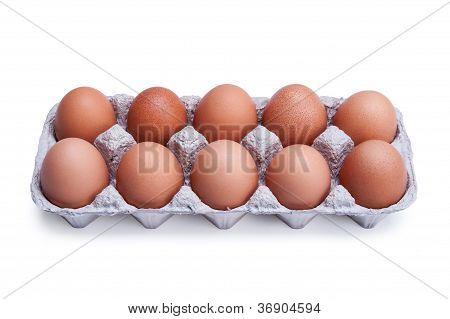 Ten Brown Eggs In A Box