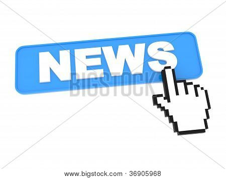 Hand-Shaped Mouse Cursor Press News Button.