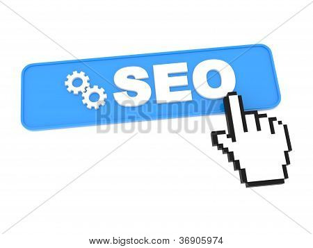 Search Engine Optimization Button and Hand Cursor.